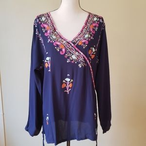 Soft Surroundings Embroidered Floral Wrap Blouse